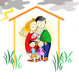 Family - protection against all adversity. Picture made by me on a graphic tablet. The figure shows a close-knit family in their own house. the figure shows that vector illustration