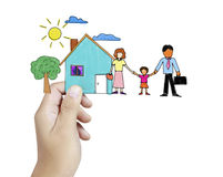 Family with the protection of cupped hands Royalty Free Stock Photo