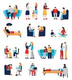 Family Psychologist Characters Set royalty free illustration