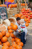 Family at the pumpkin patch. Happy father and son at the pumpkin patch Royalty Free Stock Image