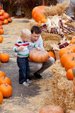 Family at the pumpkin patch. Happy father and son at the pumpkin patch Stock Photos