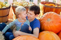 Family at pumpkin patch. Happy young father and his cute son spending fun time together at pumpkin patch; family of two at fall Royalty Free Stock Images