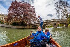 Family punting in Cambridge Stock Photography