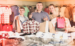 Family with purchases in shop Stock Image