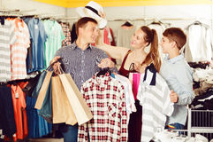 Family with purchases in shop Stock Photo