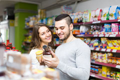Family purchasing food Stock Photography
