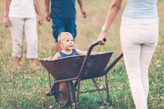 Family pushing their small child in a wheelbarrow. Family pushing their small child and grandchild in a wheelbarrow stock images