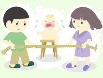 Family quarrel. Wife quarrel over tight rope and crying child Stock Photos