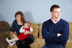 Family after quarrel Stock Image