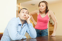 Family quarrel. Couple during conflict Stock Images
