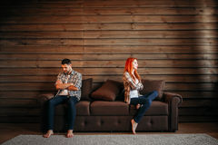 Family quarrel, couple do not talk, conflict. Problem relationship, stress. Unhappy men and woman royalty free stock image