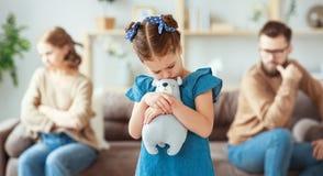Family quarrel divorce parents and child swear, conflict