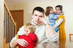 Family  after quarrel in home Royalty Free Stock Images