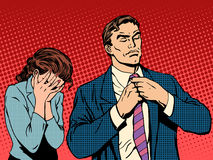 Family quarrel man leaves woman cries Royalty Free Stock Photo