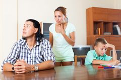 Family after quarrel Royalty Free Stock Photo
