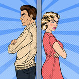 Family Quarrel - Unhappy Young Couple Standing Arms Crossed Back to Back. Pop Art Royalty Free Stock Images
