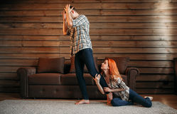 Family quarrel, woman apologizes, conflict. Family quarrel, husband and wife in conflict, women apologizes. Problem relationship Royalty Free Stock Images