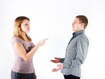 Family quarrel. Woman arguing with a man. family quarrel Stock Photography