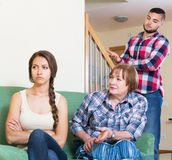Family quarrels with the husbands mother. Adult european family quarrels with the husbands mother Stock Photo