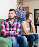 Family quarrels with the husbands mother. European family quarrels with the husbands mother Stock Photo