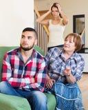 Family quarrels with the husbands mother. Sad american family quarrels with the husbands mother Stock Images