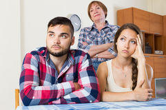Family quarrels with the husbands mother. Young family quarrels with the husbands mother Royalty Free Stock Images