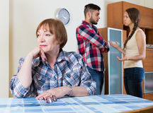 Family quarrels with the husbands mother. Young american family quarrels with the husbands mother Stock Images