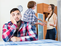 Family quarrels with the husbands mother. Young european family quarrels with the husbands mother Royalty Free Stock Photos