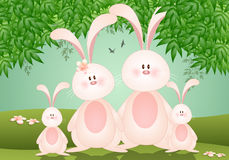 Family of rabbits for Easter Stock Photography
