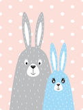 Family of rabbits in the Scandinavian style Royalty Free Stock Photography
