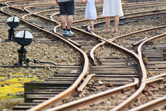 A Family on the railroad Stock Photography
