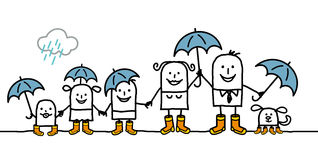 Family & rain Stock Images