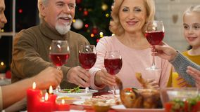 Family raising toast at Christmas dinner, tradition to get together for holidays. Stock footage stock footage