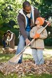 Family raking leaves Royalty Free Stock Image