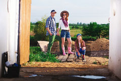 Family on ranch, farm stock images