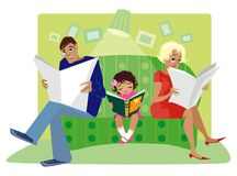 Family reading. Father, mom and small daughter reading Stock Illustration