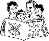 Family Reading Book Stock Image