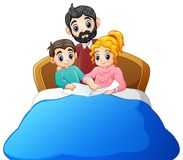 Family reading a book to son on bed on a white background stock illustration