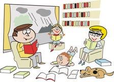 Family reading cartoon. Cartoon of happy family group reading books indoors on rainy day Stock Image