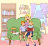 Family Reading Cartoon Illustration. Mother with children reading books together family leisure cartoon color paint vector illustration vector illustration