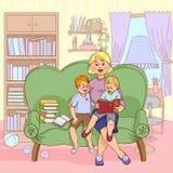 Family Reading Cartoon Illustration Stock Photography