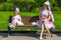 Mother and daughter in a summer park. royalty free stock images