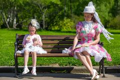 Mother and daughter in a summer park. stock photography