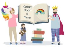 Family reading a story book Stock Illustration