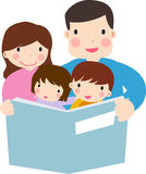 Family reading story to children Stock Images