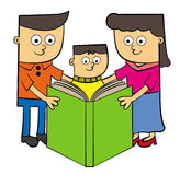 Family reads book Royalty Free Stock Photos