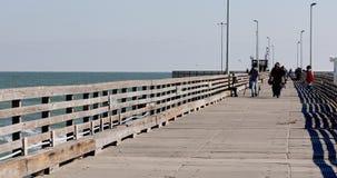 Family ready to fish fishing pier Gulf of Mexico Texas 4K