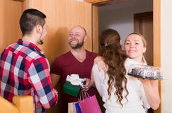 Family receiving visitors Royalty Free Stock Image