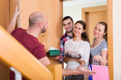 Family receiving visitors Royalty Free Stock Photography