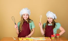 Family recipe. Cooking skill culinary education. Baking ginger cookies. Girls sisters having fun ginger dough. Homemade royalty free stock photos